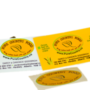 Pure Country Food business cards and sticker